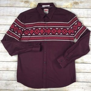 Levi's Red Large Tribal Long Sleeve Button Shirt